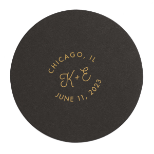 Our custom Eggshell Round Coaster with Satin Copper Penny Foil will look fabulous with your unique touch. Your guests will agree!