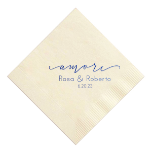 Our custom Ivory Cocktail Napkin with Shiny Royal Blue Foil Color has a Amore graphic and is good for use in Words themed parties and will give your party the personalized touch every host desires.