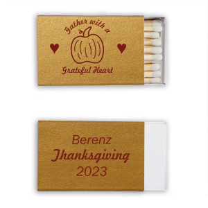 Custom Stardream Old Gold Pillow Matchbox with Matte Merlot Foil Color has a Pumpkin graphic and is good for use in Thanksgiving, Halloween themed parties and will impress guests like no other. Make this party unforgettable.