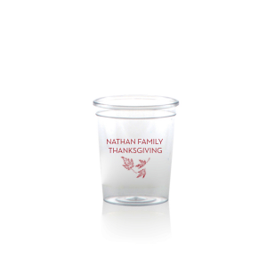Our custom Plastic Shot Glass with Matte Red Berry Ink Cup Ink Colors has a Three Leaves graphic and is good for use in  Holiday and Thanksgiving themed parties and will make your guests swoon. Personalize your party's theme today.