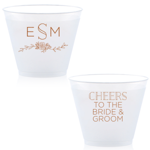 Personalize this cup for beautiful wedding barware that doubles as a party favor. Our Peony Accent and the embellished block font make the design perfect for a woodland or greenery themed wedding.