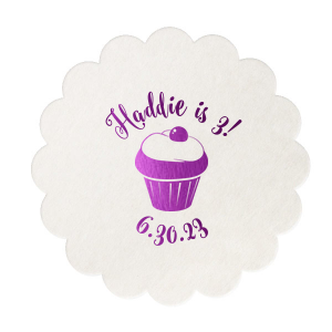 Custom Eggshell Scallop Coaster with Shiny Amethyst Foil Color has a Kid Cupcake graphic and is good for use in Kid Birthday, Food, Birthday themed parties and can be personalized to match your party's exact theme and tempo.