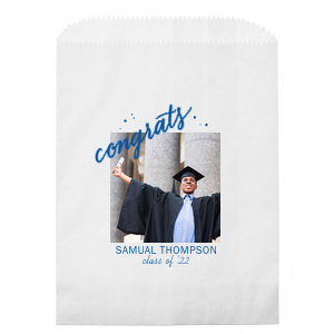 Custom White Photo/Full Color Party Bag with Matte Royal Blue Ink Digital Print Colors has a Congrats graphic and is good for use in Words, Hearts, Wedding themed parties and will make your guests swoon. Personalize your party's theme today.