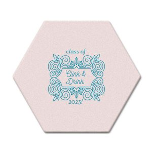 Personalized Blush with Kraft back Ornament Coaster with Satin Teal / Peacock Foil has a Love Labyrinth graphic and is good for use in Graduation, Floral themed parties and will make your guests swoon. Personalize your party's theme today.
