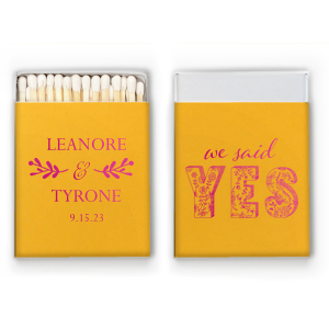 ForYourParty's chic Poptone Peach Riviera Matchbox with Shiny Fuchsia Foil has a Twig Flourish graphic and a Yes graphic and is good for use in Words, Hearts, Wedding themed parties and can be customized to complement every last detail of your party.