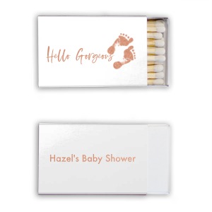 Custom Shiny White Lipstick Matchbox with Shiny Rose Gold Foil has a Footprints graphic and is good for use in Baby Shower themed parties and can be customized to complement every last detail of your party.