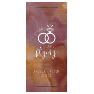 Our custom Watercolor Sangria Large Sparkler Sleeve with Matte White Foil has a Wedding Rings 2 graphic and is good for use in Wedding themed parties and are a must-have for your next event—whatever the celebration!