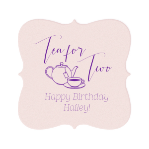 Make her birthday special with custom coasters! Use at the party and send home with guests as a personalized party favor. Add the birthday girl's name and age for a personal touch. Our hand lettered calligraphy font and Tea Pot clipart will complement your tea party birthday beautifully.