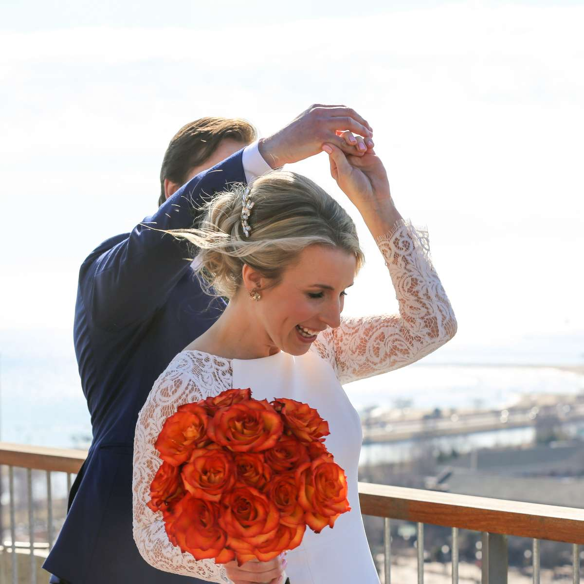 bride and groom rooftop picture ideas