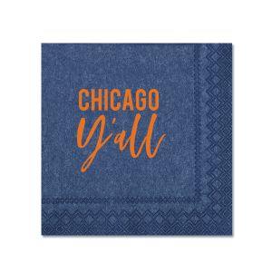 ForYourParty's personalized Light Navy Cocktail Napkin with Matte Tangerine Foil can be personalized to match your party's exact theme and tempo.