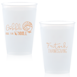 The ever-popular Matte Tangerine Ink 16 oz Frost Flex Cup with Matte Tangerine Ink Print Color has a Live Turkey graphic and is good for use in Holiday, Thanksgiving themed parties and can't be beat. Showcase your style in every detail of your party's theme!