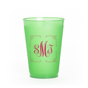 ForYourParty's personalized 9 oz Frost Flex Cup with Matte Fuchsia Ink has a Rococo Frame graphic and classic 3 letter monogram is good for use in Wedding, Anniversary and Birthday themed parties and are a must-have for your next event—whatever the celebration!