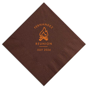 Our beautiful custom Brick Cocktail Napkin with Matte Tangerine Foil Color has a Campfire graphic and is good for use in Floral themed parties and will look fabulous with your unique touch. Your guests will agree!