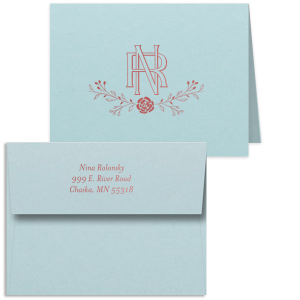 Our personalized Poptone Sky Blue Rounded Corner Note Card with Shiny Rose Quartz Foil has a Floral Vine graphic and Intertwined Initials, making it an elegant choice for stationery. It's time to show off your impeccable taste.