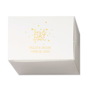 ForYourParty's elegant Shiny 18 Kt Gold Cake Box with Shiny 18 Kt Gold Foil Color has a Best Day Ever 2 graphic and is good for use in Words themed parties and can't be beat. Showcase your style in every detail of your party's theme!