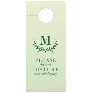 Our custom Poptone Mint Door Hanger with Satin Leaf Foil Color has a Branch 3 graphic and is good for use in Frames themed parties and couldn't be more perfect. It's time to show off your impeccable taste.