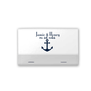 Our custom Linen Navy Blue Classic Matchbox with Shiny Sterling Silver Foil Color has a Anchor Pattern graphic and is good for use in Beach/Nautical, Full Bleed themed parties and can be customized to complement every last detail of your party.