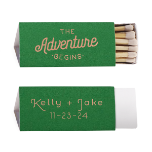 Our personalized Natural Leaf Lipstick Matchbox with Shiny Rose Gold Foil has a The Adventure Begins 2 graphic and a Mountain Range graphic and is good for use in Adventure, Outdoors themed parties and will add that special attention to detail that cannot be overlooked.