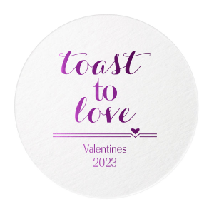 Our personalized White Round Coaster with Shiny Amethyst Foil has a Heart Flourish graphic and is good for use in Heart, Love, Valentine themed parties and couldn't be more perfect. It's time to show off your impeccable taste.