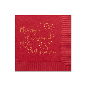 ForYourParty's chic Convertible Red Cocktail Napkin with Shiny 18 Kt Gold Foil has a Stream of Stars graphic and is good for use in Frames, Stars, Travel themed parties and will add that special attention to detail that cannot be overlooked.