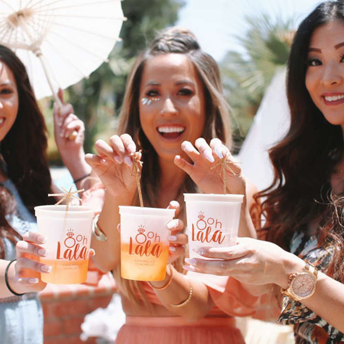 Coachella themed bridal shower party cups