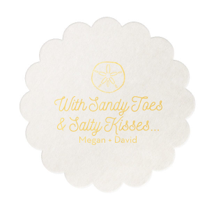 Personalize this Sandy Toes coaster for a cute and memorable touch to the bar at your destination or beach themed wedding. Our Sand Dollar graphic and casual script text will be the perfect complement to your tropical surroundings.