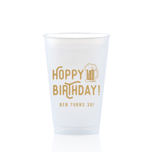 The ever-popular Gold Ink 12 oz Frosted Plastic Cup with Gold Ink Cup Ink Colors has a Brew graphic and is good for use in Drinks themed parties and can't be beat. Showcase your style in every detail of your party's theme!