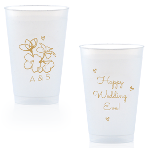 Personalized Gold Ink 12 oz Frosted Plastic Cup with Gold Ink Cup Ink Colors will give your party the personalized touch every host desires.
