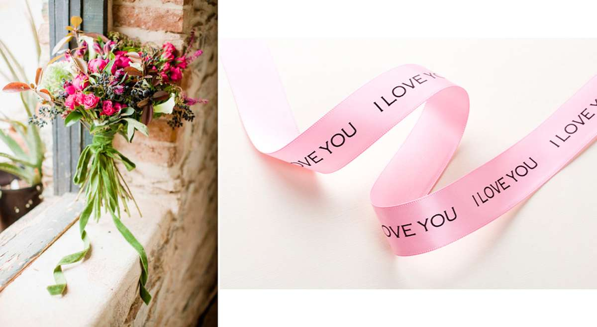 personalized ribbon around bouquet for fourth anniversary