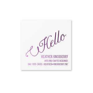 Personalized Natural Frost White Square Business/Calling Card with Shiny Lavender Foil are a must-have for your next event—whatever the celebration!