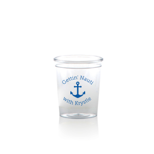 Our beautiful custom Matte Royal Blue Ink Plastic Shot Glass with Matte Royal Blue Ink Print Color has a Anchor 2 graphic and is good for use in Travel themed parties and can be customized to complement every last detail of your party.