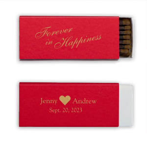 Our custom Poptone Convertible Red Classic Matchbox with Satin 18 Kt. Gold Foil has a Solid Heart graphic and is good for use in Wedding, and Anniversary themed parties and will add that special attention to detail that cannot be overlooked.