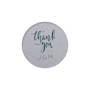Our beautiful custom Stardream Ivory Round Label with Matte Spruce Color has a Thank You 2 graphic and is good for use in Words themed parties and will make your guests swoon. Personalize your party's theme today.