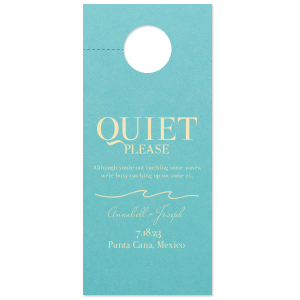 "Customize your beach themed door hanger to include in welcome bags for your destination wedding. Say a tropical ""Quiet, please!"" with our Wave graphic and Tiffany Blue paper color."