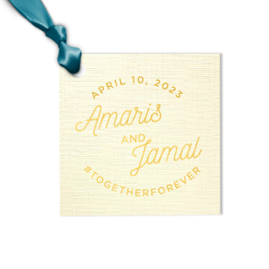 Personalized Linen Eggshell Luggage Gift Tag with Shiny 18 Kt Gold Foil are a must-have for your next event—whatever the celebration!