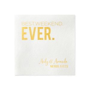 Personalized White - Out of Stock Linen Like Cocktail Napkin with Matte Navy Foil can be personalized to match your party's exact theme and tempo.