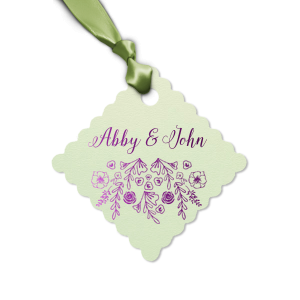 Our custom Poptone Mint Diamond Gift Tag with Shiny Amethyst Foil has a Rose Pattern graphic and is good for use in Accents, Floral, Wedding themed parties and can't be beat. Showcase your style in every detail of your party's theme!