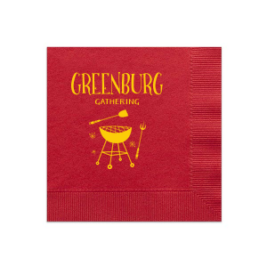 ForYourParty's chic Convertible Red Cocktail Napkin with Matte Sunflower Foil Color has a Grill graphic and is good for use in Food, Home themed parties and can be customized to complement every last detail of your party.