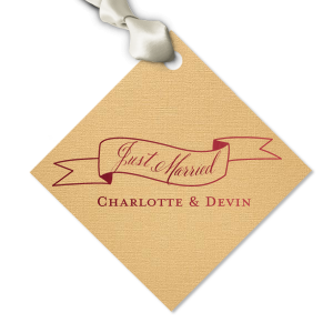 ForYourParty's elegant Linen Pearl Gold Diamond Gift Tag with Shiny Merlot Foil has a Banner 2 graphic and is good for use in Accents, Frames themed parties and will add that special attention to detail that cannot be overlooked.
