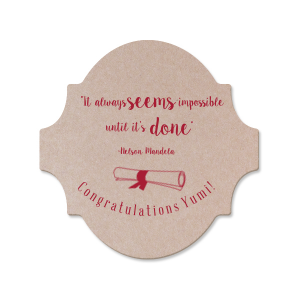 ForYourParty's personalized Silver with Black back Nouveau Coaster with Shiny Merlot Foil has a Graduation Scroll graphic and is good for use in Graduation themed parties and will impress guests like no other. Make this party unforgettable.