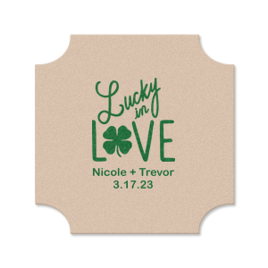 ForYourParty's chic Eggshell Square Coaster with Satin Leaf Foil has a Lucky In Love graphic and is good for use in Wedding, St Patricks Day themed parties and can be customized to complement every last detail of your party.