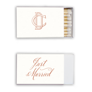 Personalized Strathmore White Classic Matchbox with Satin Copper Penny Foil can't be beat. Showcase your style in every detail of your party's theme!