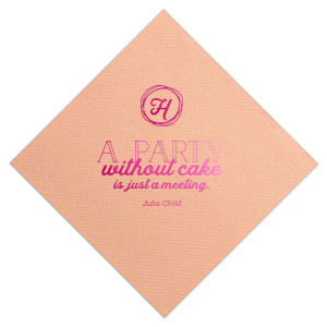 Our personalized Light Coral Cocktail Napkin with Shiny Fuchsia Foil Color has a Circle Doodle Frame graphic and is good for use in Birthday parties and will make your guests swoon. Personalize your party's theme today.
