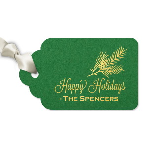 Personalized Natural Leaf Double Point Gift Tag with Shiny 18 Kt Gold Foil has a Pine graphic and is good for use in Floral, Outdoors, Organic themed parties and will give your party the personalized touch every host desires.
