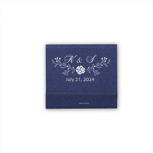 The ever-popular Linen Navy Blue Classic Matchbox with Matte White Foil has a Floral Vine Reception graphic and is good for use in Lovely Press, Floral themed parties and can be customized to complement every last detail of your party.