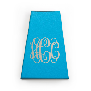 Our custom Poptone Dark Turquoise Rectangle Box with a Shiny Sterling Silver Foil Monogram will add that special attention to detail that cannot be overlooked.