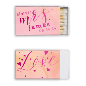 Our beautiful custom Watercolor Rose Classic Matchbox with Shiny Fuchsia Foil has a Love Hearts graphic and is good for use in Words, Wedding, Anniversary themed parties and are a must-have for your next event—whatever the celebration!