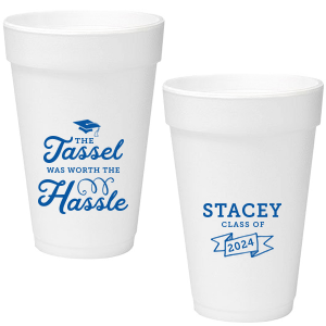 ForYourParty's elegant Matte Royal Blue Ink 12 oz Styrofoam Cup with Matte Royal Blue Ink Cup Ink Colors has a Cap graphic and a Banner graphic and is good for use in Accents, Frames themed parties and can be personalized to match your party's exact theme and tempo.