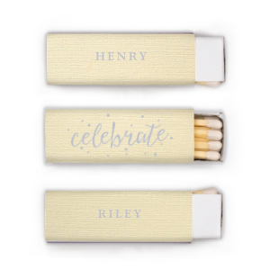 ForYourParty's chic Linen Ivory Lipstick Matchbox with Shiny Turquoise Foil Color has a Celebrate graphic and is good for use when Celebrating Couples and will make your guests swoon. Personalize your party's theme today.