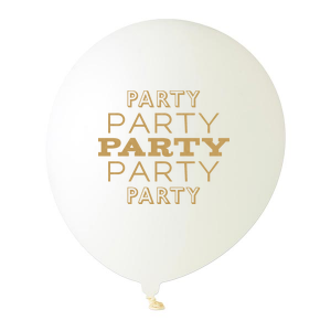 Personalized White Designer Balloon with Satin Gold Ink Color has a Party graphic and is good for use in Words themed parties and will make your guests swoon. Personalize your party's theme today.